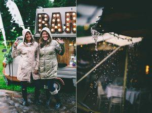 Outdoor Rainy Wedding Reception