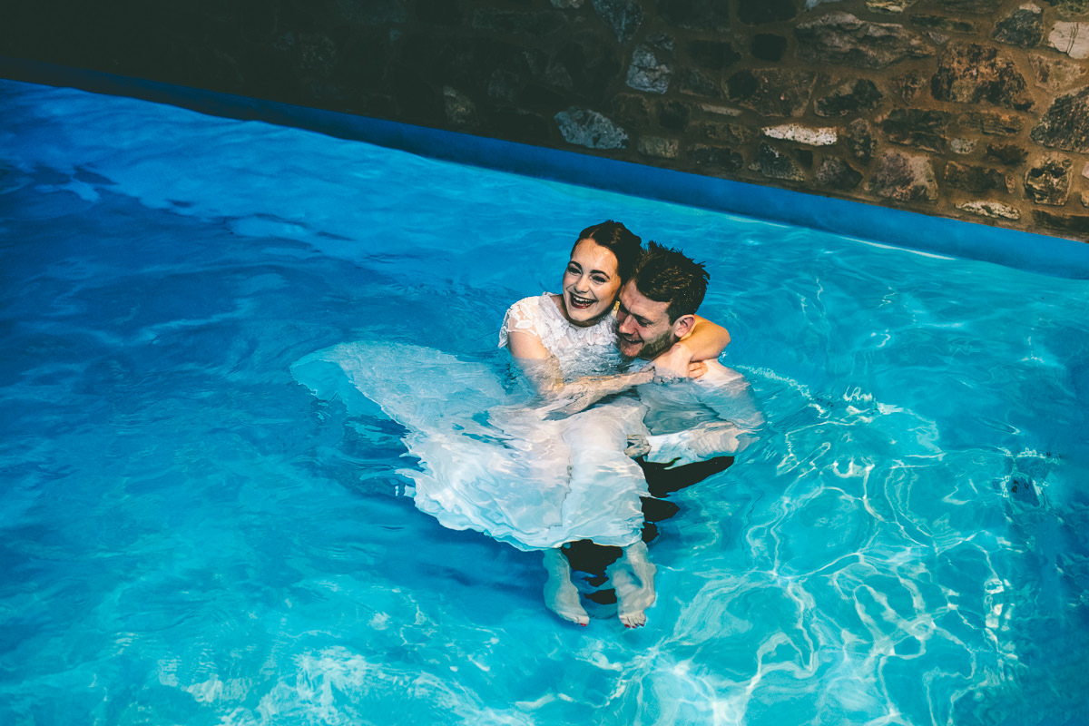 Bride in Swimming Pool